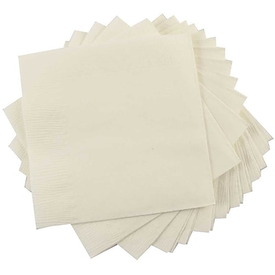 JAM Paper® Small Beverage Napkins, Small, 5 x 5, Ivory, 50/Pack (5255620721)