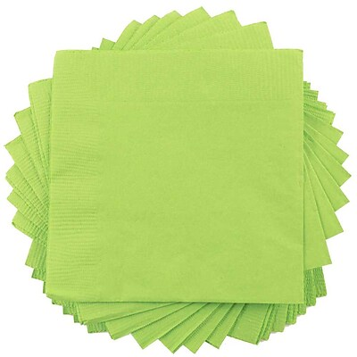JAM Paper® Square Lunch Napkins, Medium, 6.5 x 6.5, Lime Green, 50/pack (6255620724)