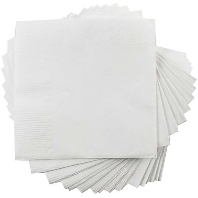JAM Paper® Square Lunch Napkins, Medium, 6.5 x 6.5, White, 50/pack (6255620732)