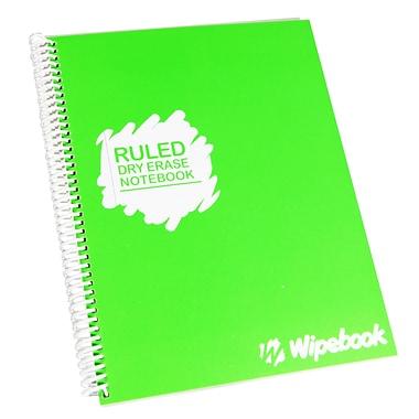 Wipebook - Cahier de notes Light à effacement sec, réglé, réutilisable, 8,5 po x 11 po, 16 feuilles, vert poire