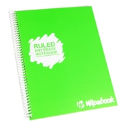 "Wipebook Light Ruled Reusable Dry-Erase Notebook, 8.5"" x 11'', 16 Sheets, Pear Green"