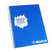 "Wipebook Light Graph Reusable Dry-Erase Notebook, 8.5"" x 11'', 16 Sheets, Blueberry Blue"