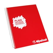 "Wipebook Light Plain Reusable Dry-Erase Notebook, 8.5"" x 11'', 16 Sheets, Raspberry Red"