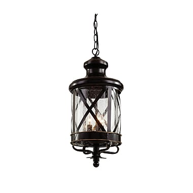 TransGlobe Lighting 3-Light Outdoor Hanging Lantern; Rubbed Oil Bronze
