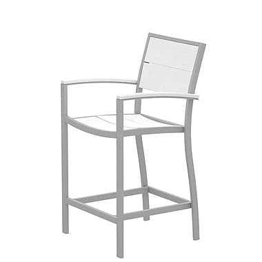 Trex Surf City Bar Stool; Textured Silver/Classic White