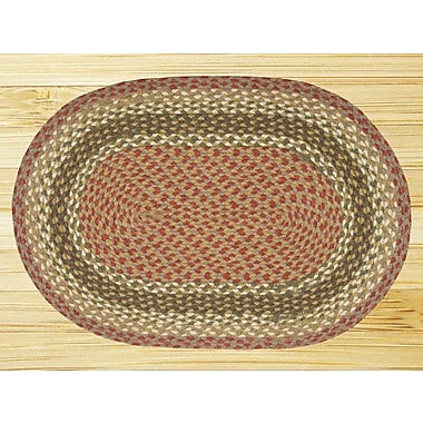 EarthRugs Braided Olive/Burgundy Area Rug; Oval 1'8'' x 3'