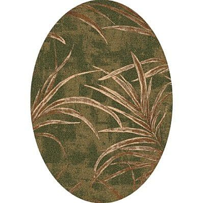 Milliken Pastiche Rain Forest Deep Olive Oval Rug; Oval 5'4'' x 7'8''