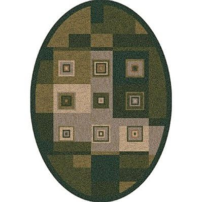 Milliken Pastiche Bloques Deep Olive Contemporary Oval Rug; Oval 7'8'' x 10'9''