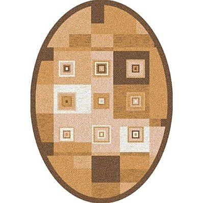 Milliken Pastiche Bloques Golden Morn Contemporary Oval Rug; Oval 3'10'' x 5'4''