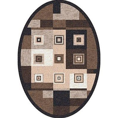 Milliken Pastiche Bloques Brown Leather Contemporary Oval Rug; Oval 5'4'' x 7'8''