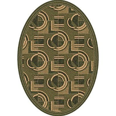 Milliken Pastiche Modernes Deep Olive Contemporary Oval Rug; Oval 7'8'' x 10'9''