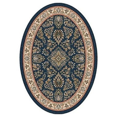 Milliken Pastiche Halkara Candle Blue Oval Rug; Oval 5'4'' x 7'8''