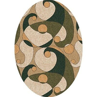 Milliken Pastiche Remous Deep Olive Contemporary Oval Rug; Oval 5'4'' x 7'8''