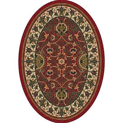 Milliken Pastiche Sumero Indian Red Oval Rug; Oval 3'10'' x 5'4''