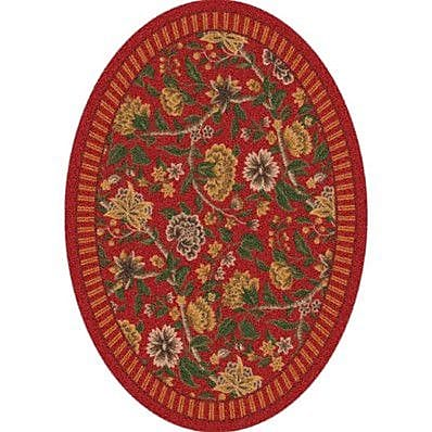 Milliken Pastiche Vachell Indian Red Oval Rug; Oval 3'10'' x 5'4''