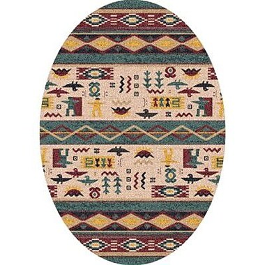Milliken Pastiche Wide Ruins Hazy Forest Southwestern Oval Rug; Oval 5'4'' x 7'8''