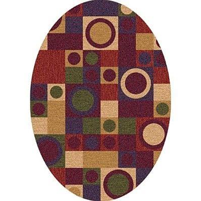 Milliken Pastiche Rialto Dark Red Oval Rug; Oval 7'8'' x 10'9''