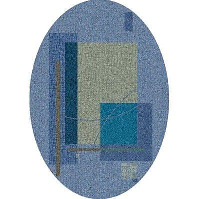 Milliken Pastiche Fairmont Fresh Blue Oval Rug; Oval 3'10'' x 5'4''