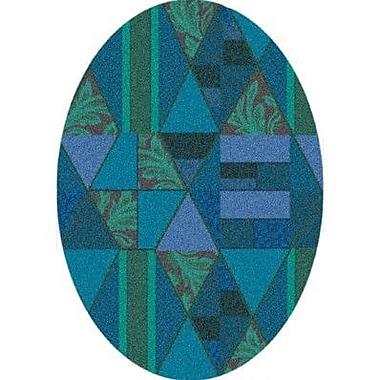Milliken Pastiche Valencia Cabana Blue Oval Rug; Oval 5'4'' x 7'8''