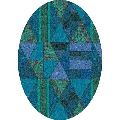 Milliken Pastiche Valencia Cabana Blue Oval Rug; Oval 7'8'' x 10'9''