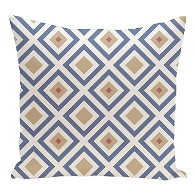 e by design Geometric Decorative Floor Pillow; Blue/Taupe