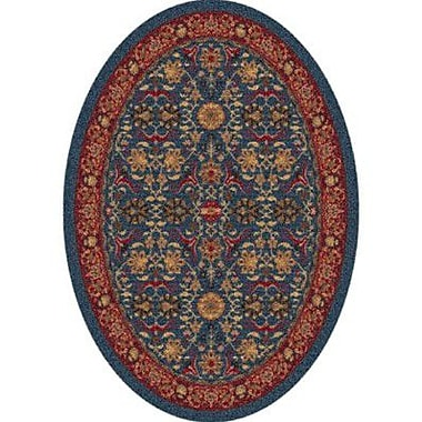 Milliken Pastiche Kamil Blue Grey Oval Rug; Oval 3'10'' x 5'4''
