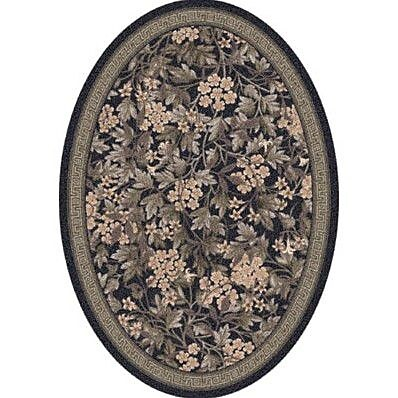 Milliken Pastiche Delphi Floral Ebony Oval Rug; Oval 7'8'' x 10'9''
