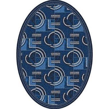 Milliken Pastiche Modernes Phantom Blue Contemporary Oval Rug; Oval 7'8'' x 10'9''