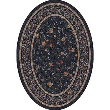 Milliken Pastiche Hampshire Floral Ebony Oval Rug; Oval 5'4'' x 7'8''