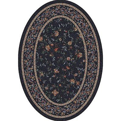 Milliken Pastiche Hampshire Floral Ebony Oval Rug; Oval 3'10'' x 5'4''