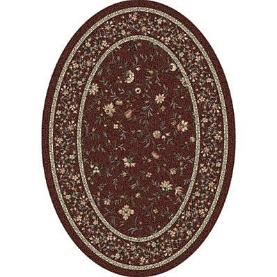 Milliken Pastiche Hampshire Floral Rust Oval Rug; Oval 3'10'' x 5'4''