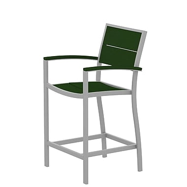 Trex Surf City Bar Stool; Textured Silver/Rainforest Canopy