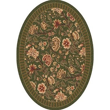 Milliken Pastiche Vachell Deep Olive Oval Rug; Oval 3'10'' x 5'4''