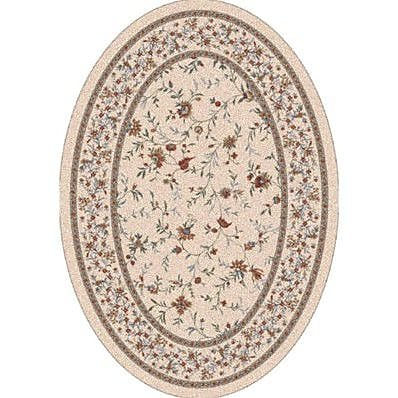 Milliken Pastiche Hampshire Floral Sand Oval Rug; Oval 3'10'' x 5'4''