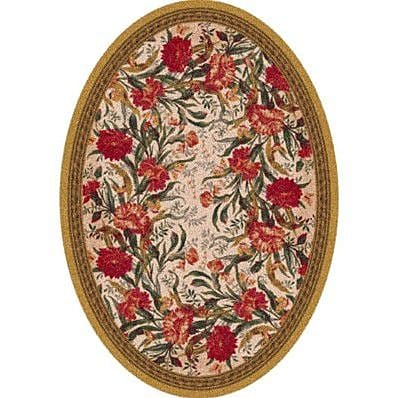 Milliken Pastiche Barrington Court Floral Curry Oval Rug; Oval 7'8'' x 10'9''