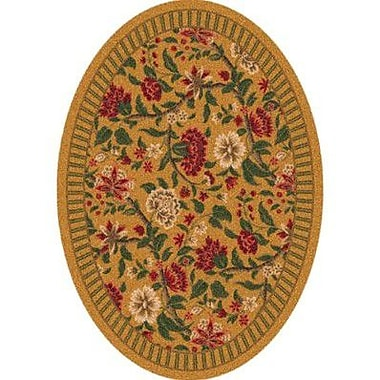 Milliken Pastiche Vachell Gold Floral Oval Rug; Oval 5'4'' x 7'8''