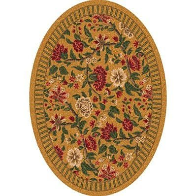Milliken Pastiche Vachell Gold Floral Oval Rug; Oval 7'8'' x 10'9''