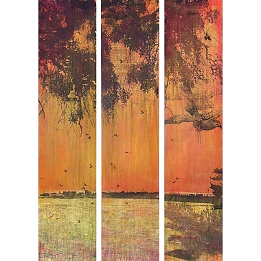 Marmont HIll 'Orange Sunset 3-Piece Set' by Tracy Silva Barbosa Painting Print on Wrapped Canvas