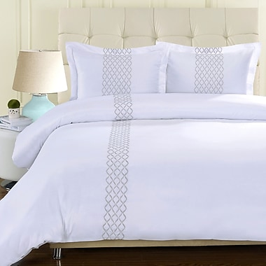Simple Luxury Hannah Embroidered Reversible Duvet Cover Set; King / California King