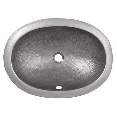 The Copper Factory Oval Undermount Bathroom Sink w/ Overflow; Satin Nickel