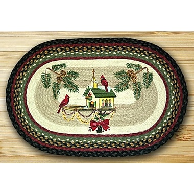 EarthRugs Christmas Birdhouse Oval Brown Patch Area Rug