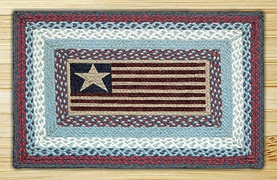 EarthRugs Flag Rectangle Red/Blue Patch Area Rug