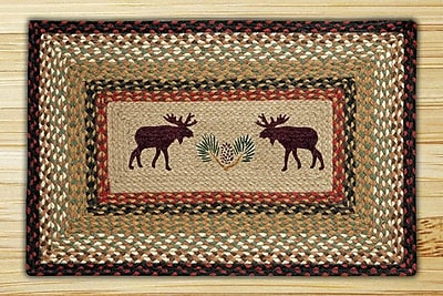 EarthRugs Moose Rectangle Tan Patch Area Rug