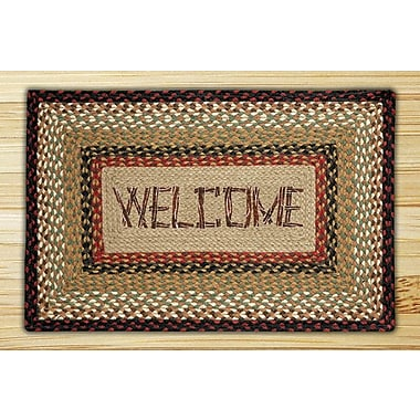 EarthRugs Welcome Rectangle Tan Patch Area Rug