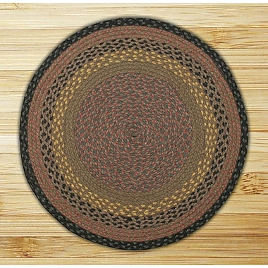 EarthRugs Braided Brown/Black Area Rug; Round 4'