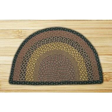 EarthRugs Braided Brown/Black Area Rug; Semi-Circle 1'6'' x 2'5''