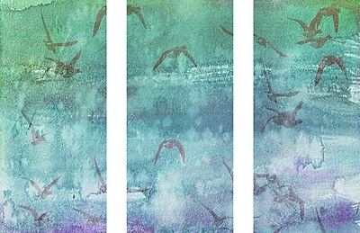 Marmont HIll 'Clouds Up Triptych' Painting Print on Wrapped Canvas; 24'' H x 36'' W
