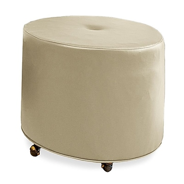 Tory Furniture Mondo Upholstered Round 1-Button Ottoman; Beige