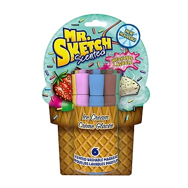 Mr. Sketch® Ice Cream Scented Washable Markers, Chisel Tip, Assorted, 6/Pack