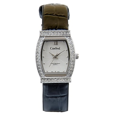 Cardinal 2002 Ladies' Crystal Boutique Dress Watch, Black Leather Strap